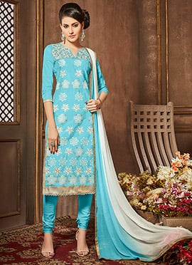 Sky Blue Cotton Churidar Suit