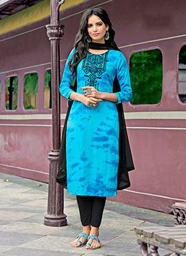 Sky Blue Cotton Churidar Suit
