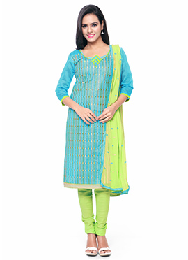 Sky Blue Cotton Embroidered Churidar Suit