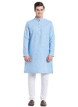 Sky Blue Cotton Kurta Pyjama
