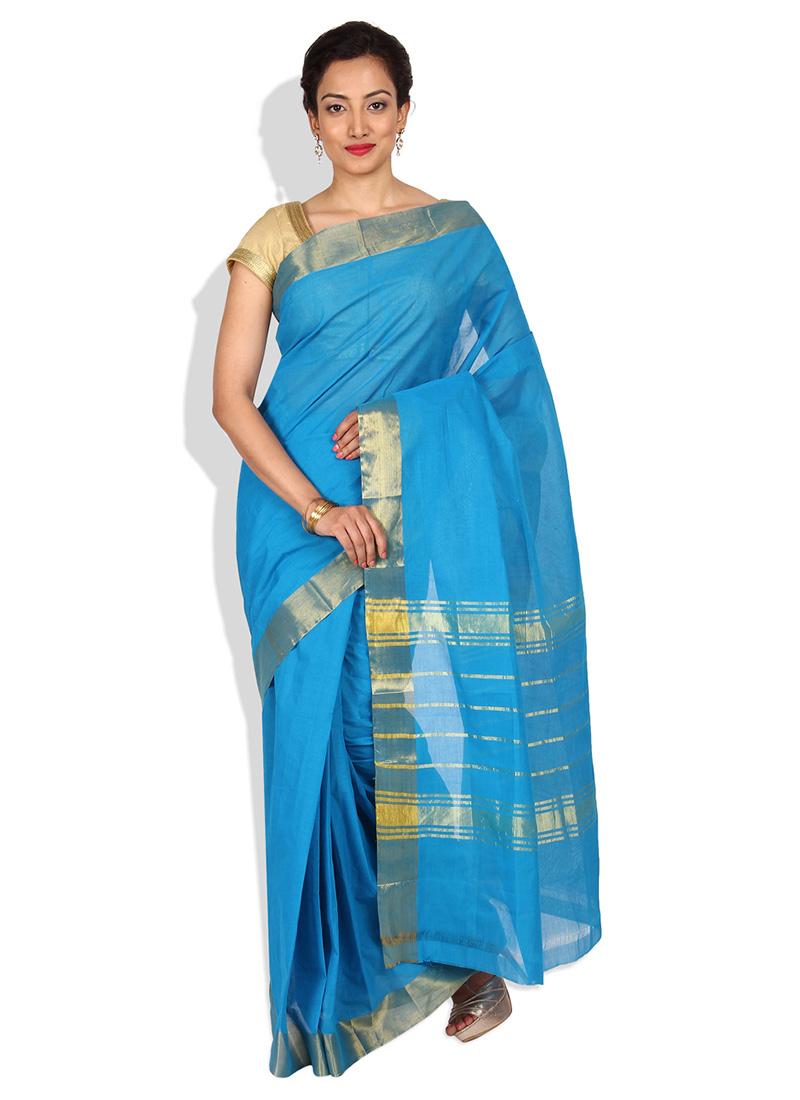 buy sky blue cotton saree sari online shopping sacpfpsrr13885. Black Bedroom Furniture Sets. Home Design Ideas