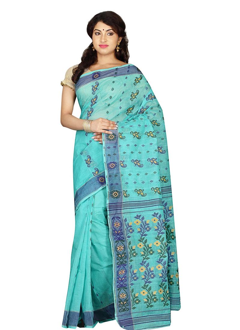 buy sky blue cotton saree sari online shopping saksbrkb2296. Black Bedroom Furniture Sets. Home Design Ideas