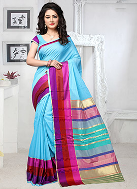 Sky Blue Cotton Silk Saree
