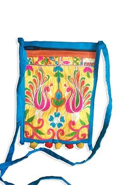 Sky Blue Cotton Sling Bag