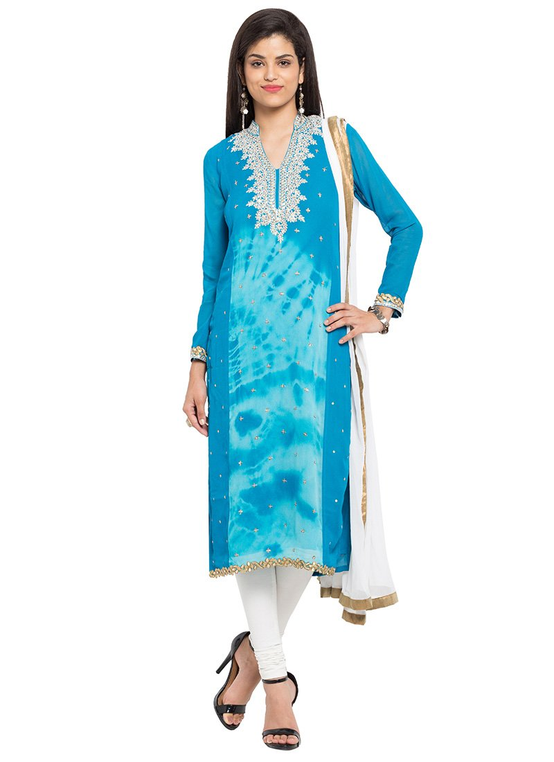 Buy Sky Blue Cotton Straight Pant Suit, Printed , Embroidered ...