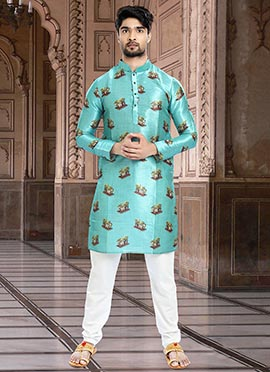 1a6c837282a6 Printed Blue Men Kurta Pyjama