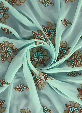 Sky Blue Embroidered Chinnon Chiffon Fabric
