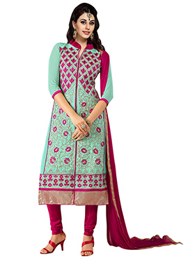 Sky Blue Embroidered Churidar Suit