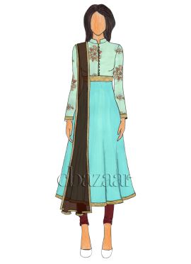 Sky Blue Embroidered Collar Neck Anarkali suit