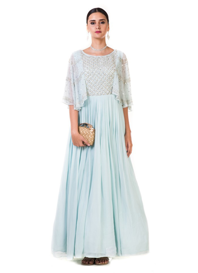 efc9e6f6808 Buy Sky Blue Embroidered Gown