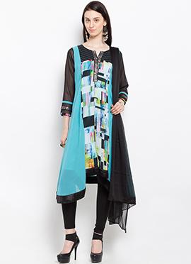 Sky Blue Georgette Asymmetrical Anarkali suit