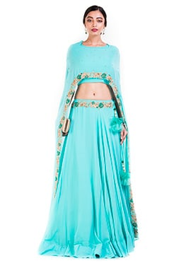 Sky Blue Georgette Cape Skirt Set
