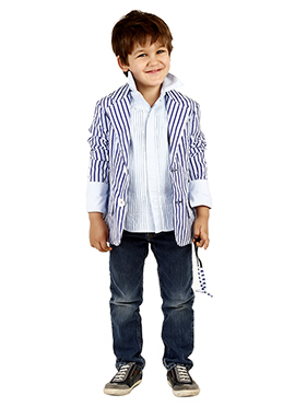 Off white N Blue Georgette Kids Blazer
