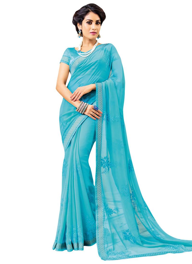 buy sky blue georgette saree sari online shopping sacvp9546. Black Bedroom Furniture Sets. Home Design Ideas