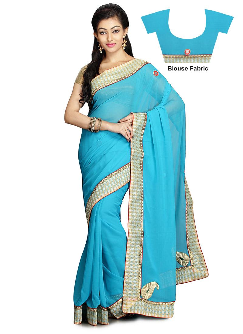 buy sky blue georgette saree sari online shopping sakas1615. Black Bedroom Furniture Sets. Home Design Ideas