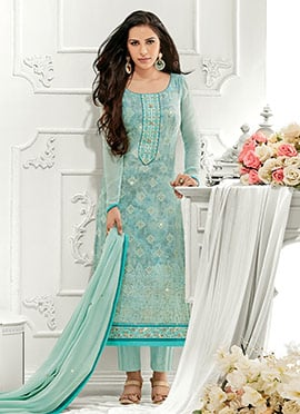 Sky Blue Georgette Straight Pant Suit
