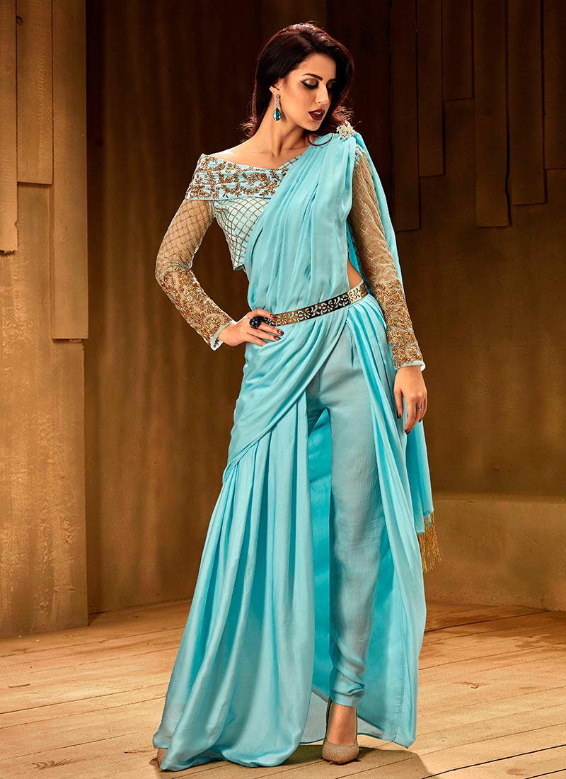Buy Sky Blue Indowestern Saree N Pant Set, Embroidered, indowestern ...