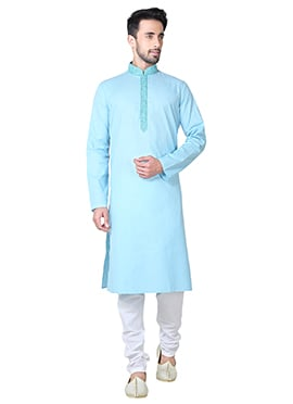Sky Blue Linen Cotton Kurta Pyjama