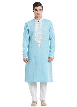 Sky Blue Linen Kurta Pyjama