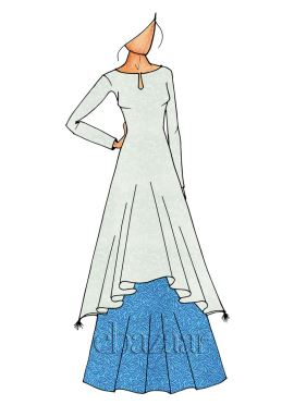 Sky Blue Long Kurti Skirt Set