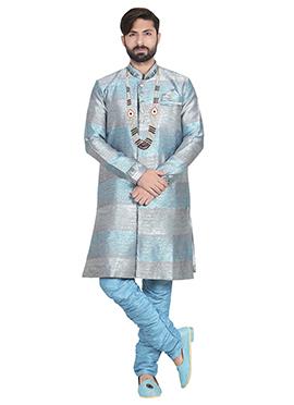 Sky Blue N Grey Breeches Style Sherwani
