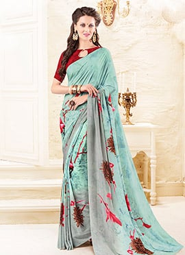 Sky Blue N Grey Silk Crepe Saree