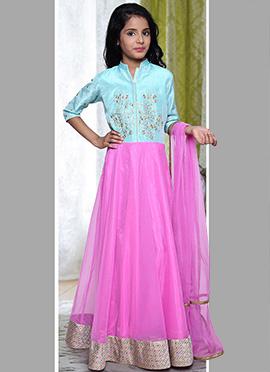 Sky Blue N Pink Kids Anarkali Suit