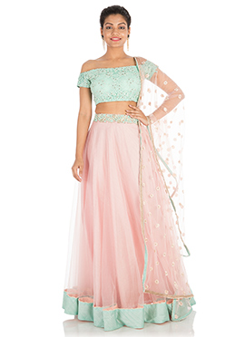 Sky Blue N Pink Off Shoulder Umbrella Lehenga