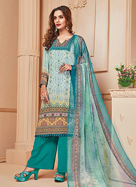 Sky Blue N Teal Green Crepe Palazzo Suit