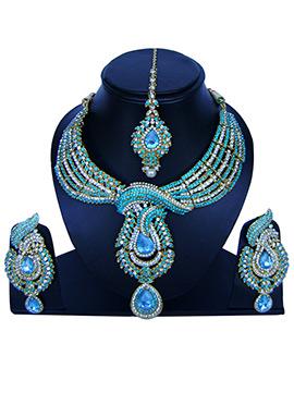 Sky Blue N White Zircon Stone Necklace Set