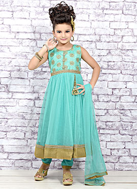 Sky Blue Net Kids Anarkali Suit