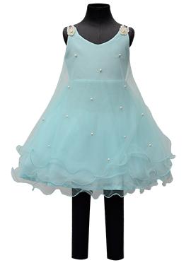 Fayon Sky Blue Net Kids Dress