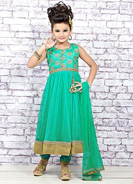 Sky Blue Net Teens Anarkali Suit