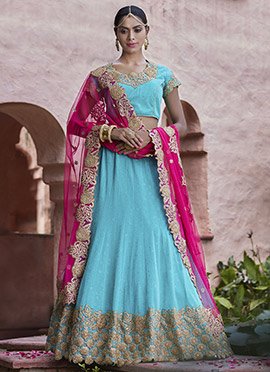 Sky Blue Net Umbrella Lehenga