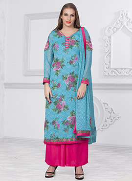 Sky Blue Printed Floral Palazzo Suit