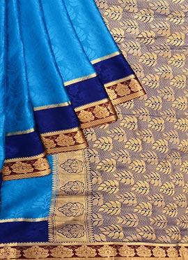 Sky Blue Pure Handloom Mysore Silk Saree