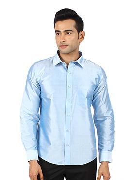 Sky Blue Pure Raw Silk Shirt