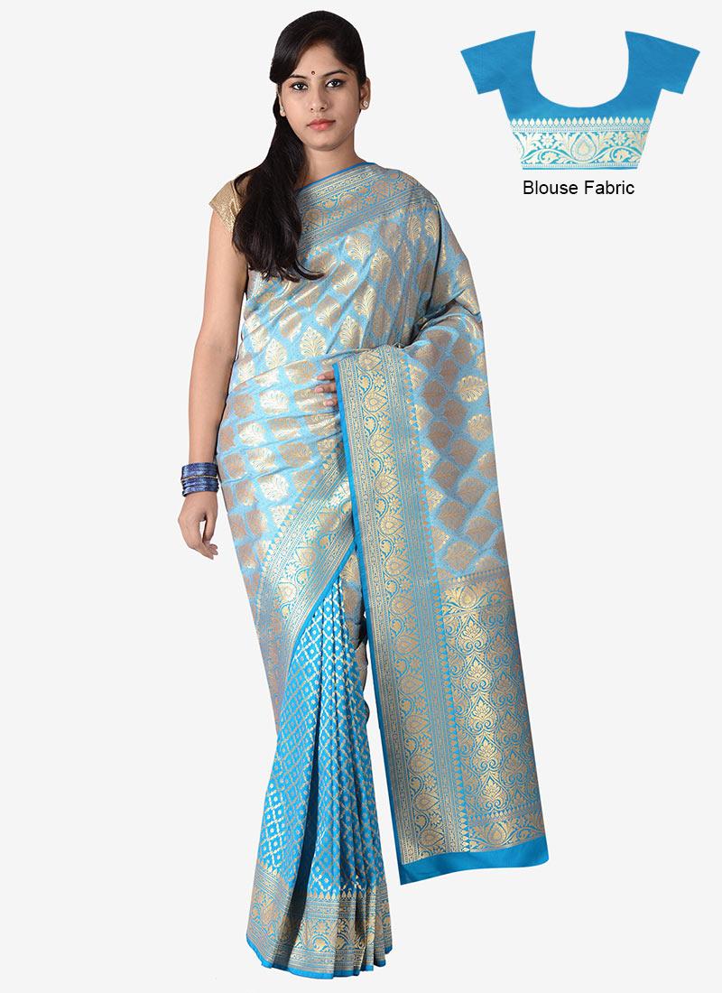 buy sky blue benarasi silk saree sari online shopping saknasns118. Black Bedroom Furniture Sets. Home Design Ideas