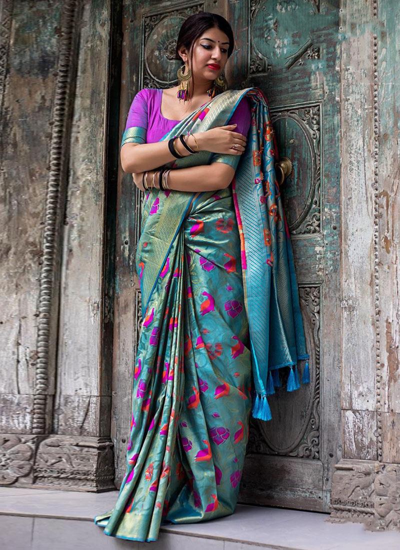 f6d997058e7a Buy Sky Blue Pure Silk Saree, Zari , Digital Print, sari Online Shopping ...