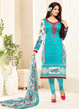 Sky Blue Satin Blend Churidar Suit