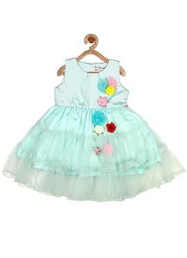 Sky Blue Taffeta Silk Net Kids Dress