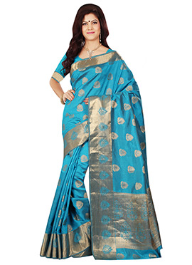 Turquoise Blue Tussar Silk Zari Weaved Saree