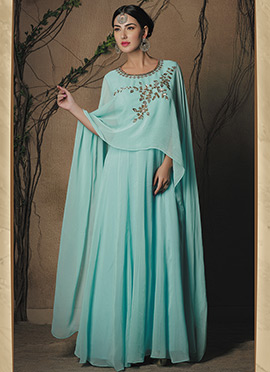 Sky Blue Viscose Gown