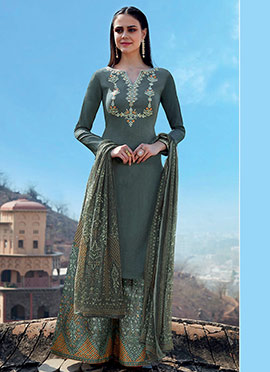 Slate Green Embroidered Palazzo Suit