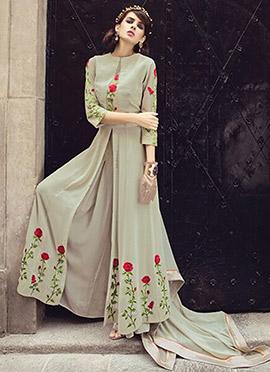 Greenish Grey Georgette Anarkali Suit