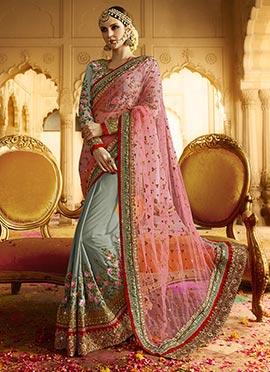 Slate Grey N Pink Embroidered Half N Half Saree