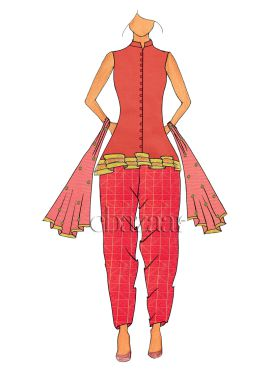 Sleeveless Coral Pink Peplum Top N Salwar Suit