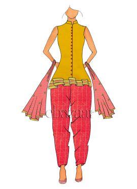 Sleeveless Saffron Peplum Top N Salwar Suit