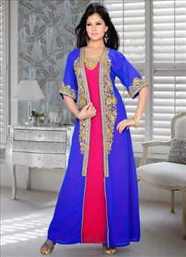 Smart Blue N Pink Georgette Fustan Dress