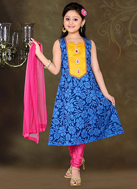 Smart Blue Teens Churidar Suit